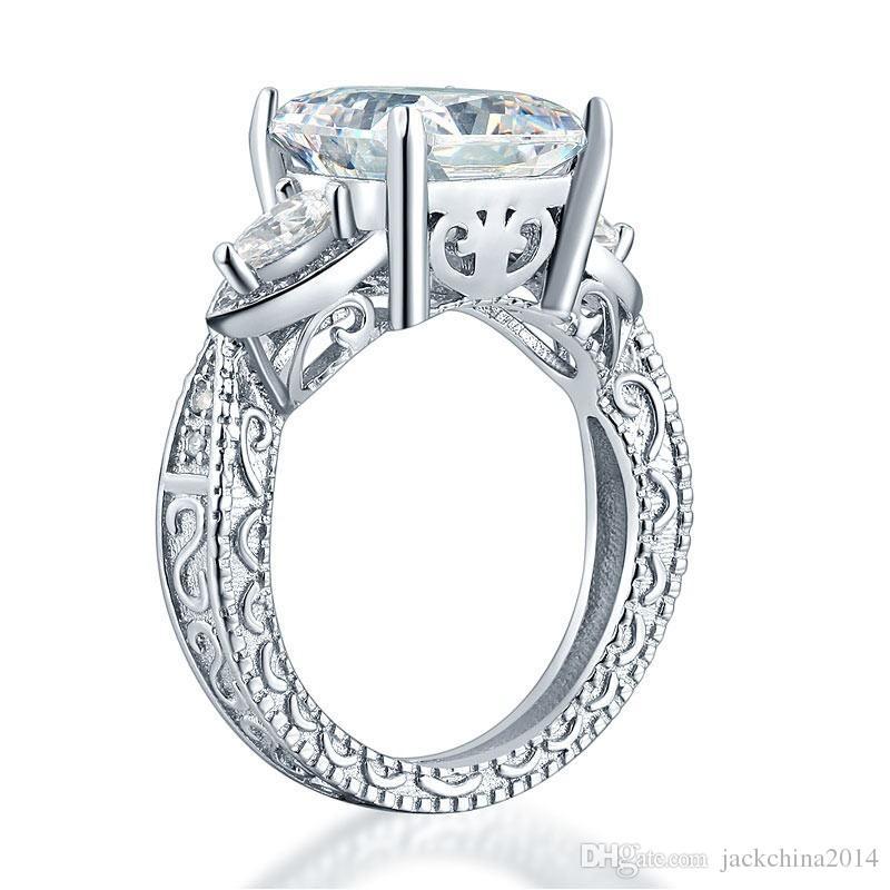 Taille 5/6/7/8/9/10 Brand New Femmes Mode Bijoux Coeur Coupe 925 Sterling Argent Blanc Sapphire CZ Diamant Femmes Anneaux De Bande De Mariage Pour Lover