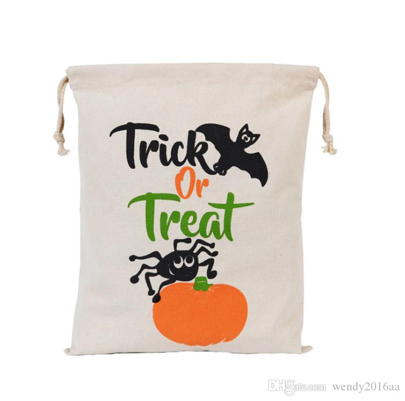 500pcs Newest Halloween Sacks Candy Gifts Bag 34X42CM Treat & Trick Drawstring Bags Cotton Canvas Kids Pumpkin Spider Tote Bag
