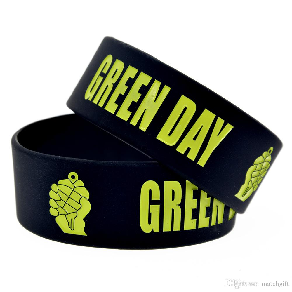 Punk Style Music Band Green Day One Inch Wide Silicone Rubber Bracelet Black for Promotion Gift