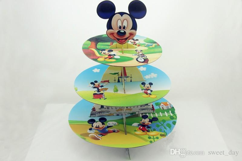 Micky Mouse cupcake stand cartoon cake dessert stands baby boy girl kids birthday party decoration supplies favors