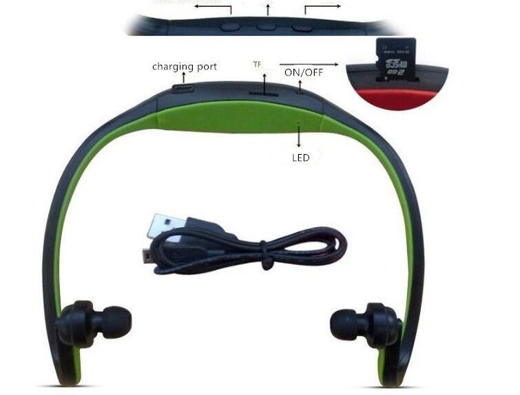 Beweglicher drahtloser Sport mp3 Spieler In-Ohr-Kopfhörer-Kopfhörer-Kopfhörer Freihandhalskette MP3-Player-Unterstützung SD TF Karte FM Radio USZ067