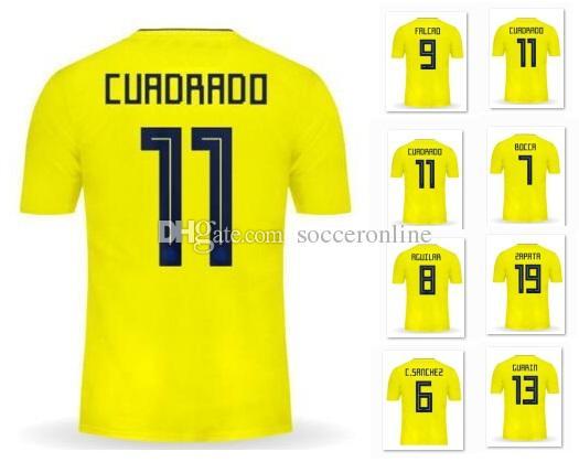 Customized 17-18 Home Yellow Thai Quality Soccer Jerseys,10 James 9 Falcao  11 Cuadrado 7 Bocca 8 Aguilar 6 C.Sanchez 19 Zapata Soccer Wear Personality  ...