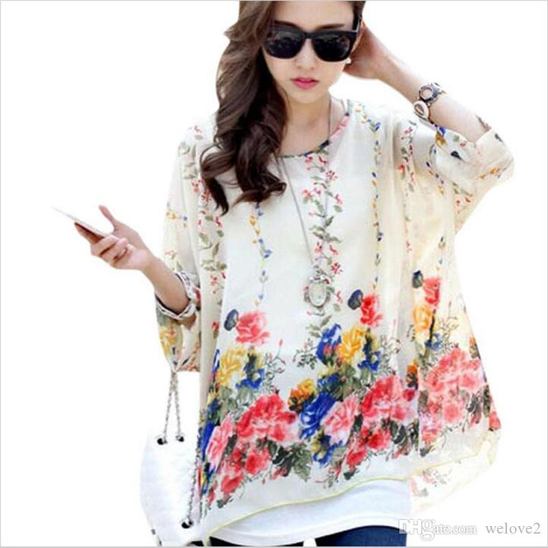 ccb8a1044ed46 2019 Boho Batwing Sleeve Chiffon Blouse Women Casual Floral Print Loose  Kimono Shirts Big Size Beach Tunic Tops Peplum Blusas Robe From Welove2
