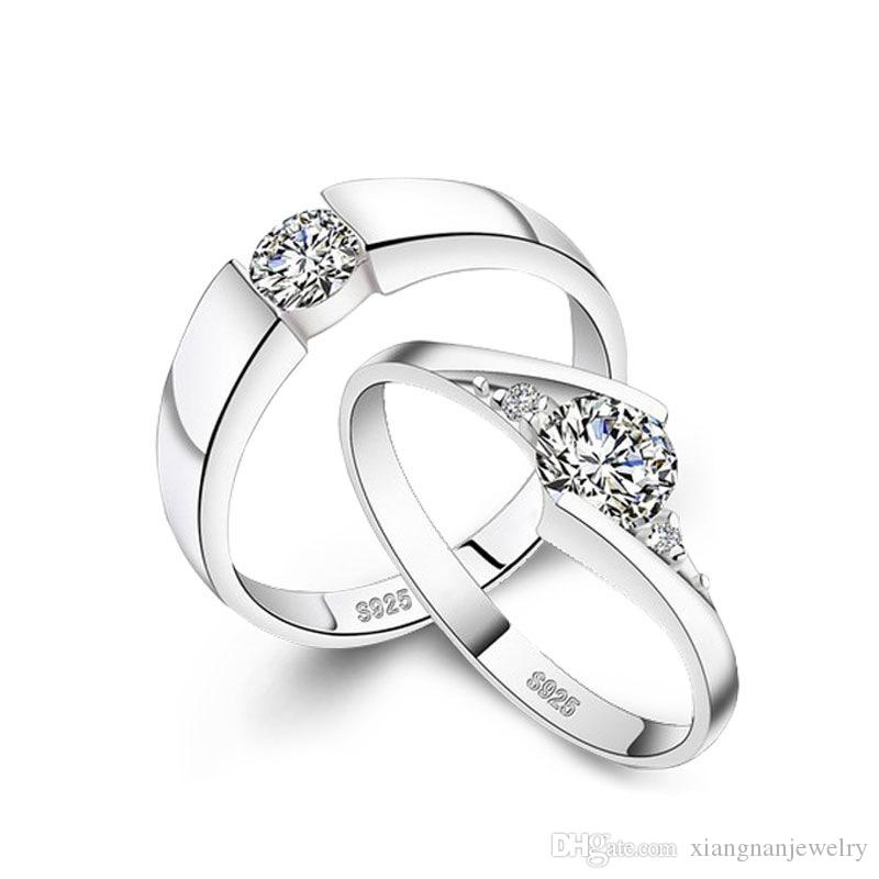 S925 Silver Couple Rings Silver Weeding Rings S925 Pure Silver Woman