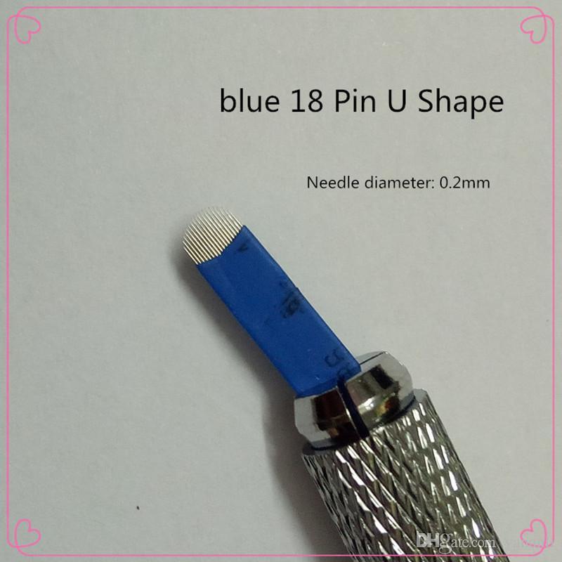 50 ADET 18 Pin U Şekli Dövme İğneler Kalıcı Makyaj Kaş Nakış Bıçak 3D Microblading Manuel Dövme Kalem Için