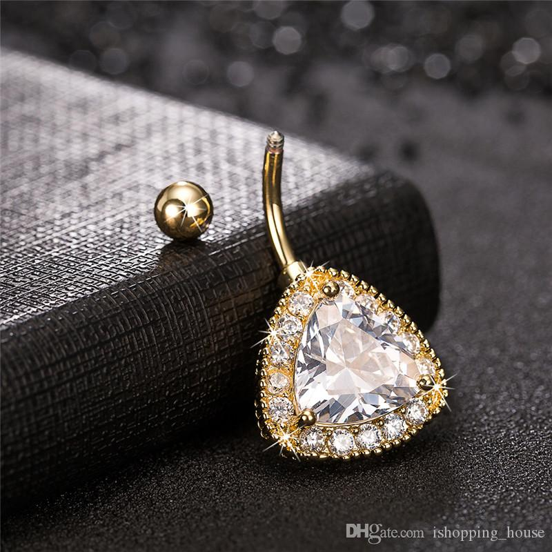Big Clear CZ CRYSTAL DIACK Diamante 18K Giallo Placcato oro Placcato Belly Bull Bull Body ANELL BODING DONNE SEXY