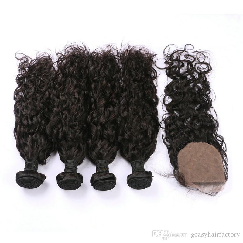 Wet And Wavy Human Hair Weaves Closure Natural Black Peruvian Virgin Hair Bundles With Closure LaurieJ Hair