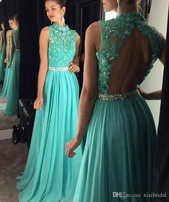 Sexy Backless 2017 Evening Dresses A-line High Collar Mint Green Chiffon Lace Appiques Beaded Long Prom Party Gown