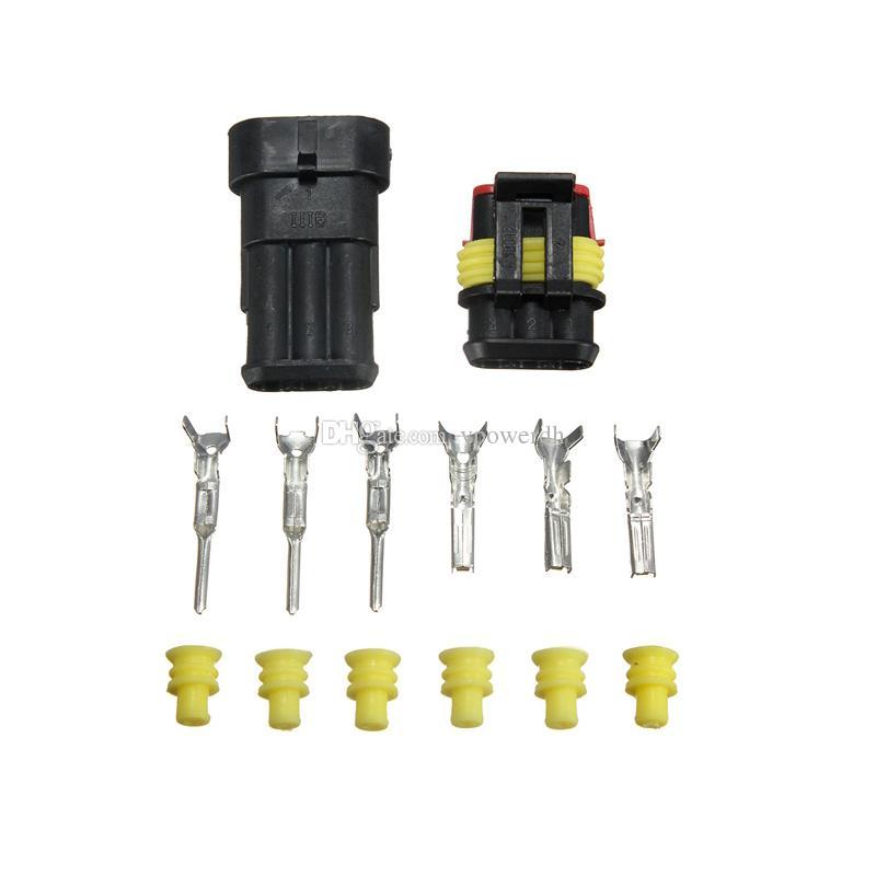 5 Kits Car 3 Pin Way Selado À Prova D 'Água Fio Elétrico Auto Conector Plug M00008