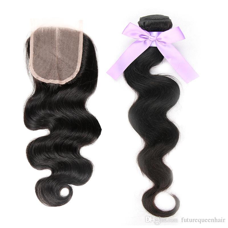 7A Vücut Dalga saç Dantel Kapatma Ücretsiz Veya Orta Kısmı ile 100% Işlenmemiş Brezilyalı Bakire Saç Ile 4 * 4 Dantel Kapatma İnsan Saç Uzantıları