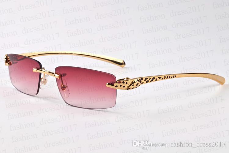 Новая мода мужской солнцезащитных очков, рога буйвола леопард дрель серия шаблона очки металлические очки кронштейн бескаркасных линза зеркало с оригинальной коробкой