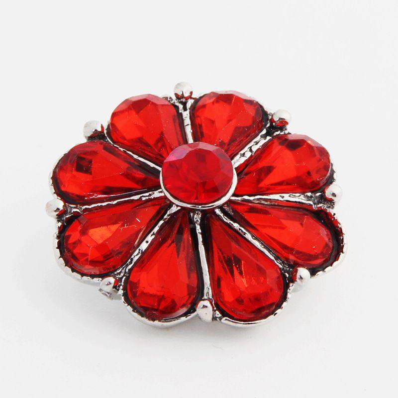 Nuevo ed crisantemo de cristal jengibre botón a presión para el botón de aleación de 18 mm snap pulsera de metal collar