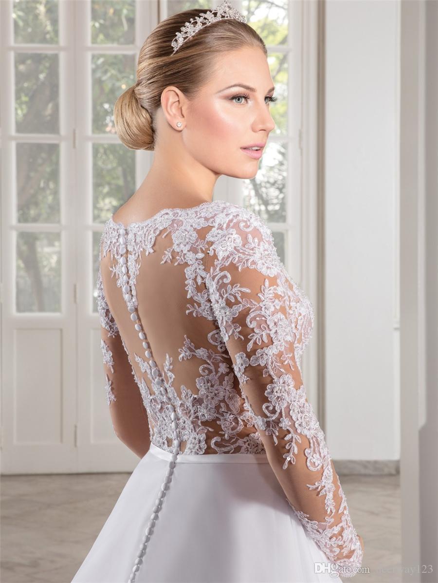 فستان دي Noiva انظر من خلال صد ألف خط مثير طويل الأكمام فستان الزفاف الدانتيل يزين كاسامنتو. Access الصين أثواب الزفاف