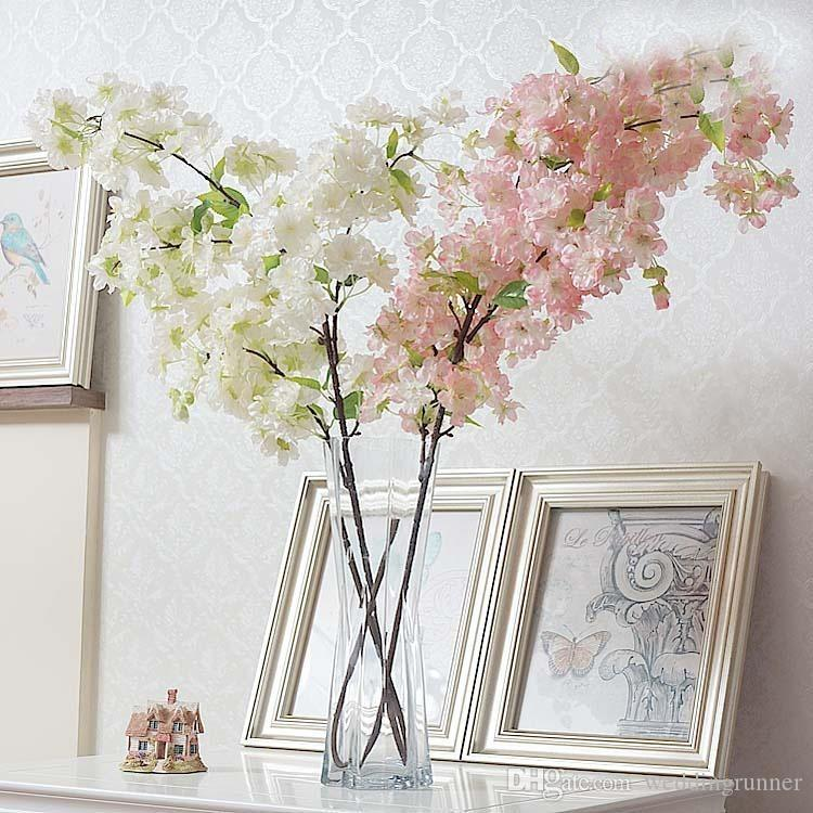 2018 Four Branches Each Bouquet Simulation Cherry Blossom 1 M39 Long Wedding Arch Decorative Flower Home Living Room Decor From Weddingrunner