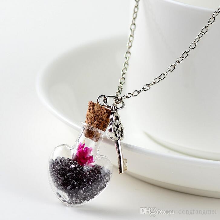 Buona A ++ Collana di fiori secchi a caldo Lega fai da te fai da te fatto a mano cristallo secco cuore cuore Drift bottiglia wfn280 con catena mix ordine 20 pezzi molto