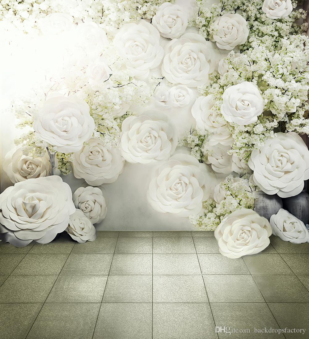 digital printed 3d white roses background romantic flowers wall