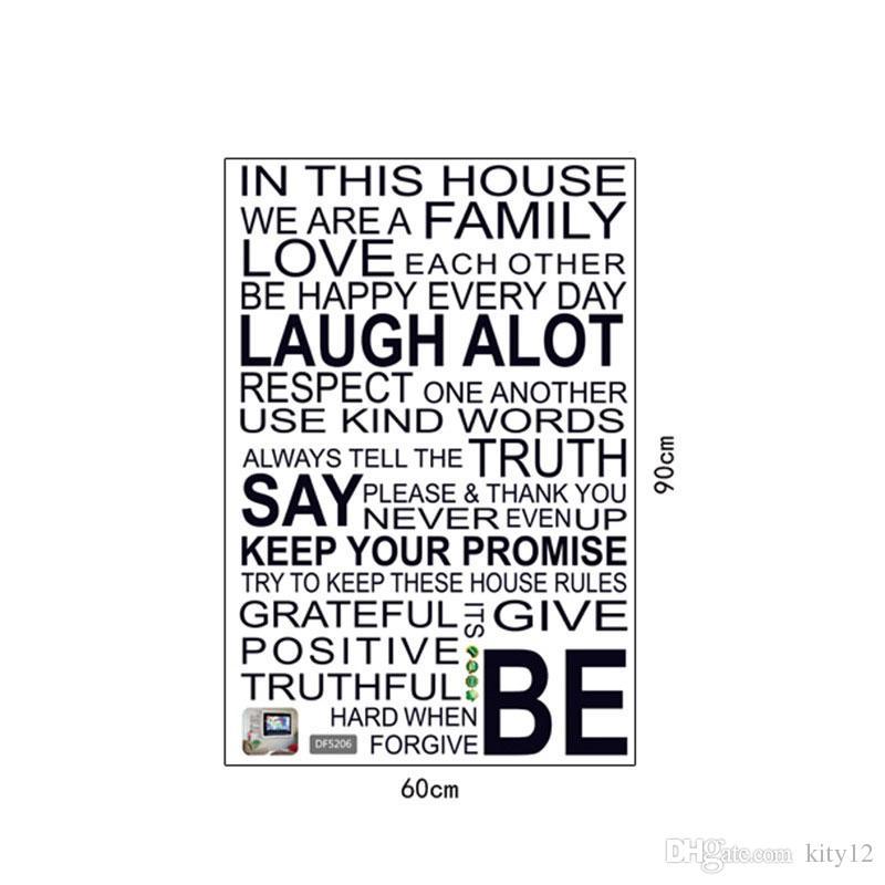 뜨거운 판매 새로운 가정 하우스 규칙 벽 스티커 홈 장식 사랑 예술 따옴표 비닐 장식 이동식 벽 아트 데칼