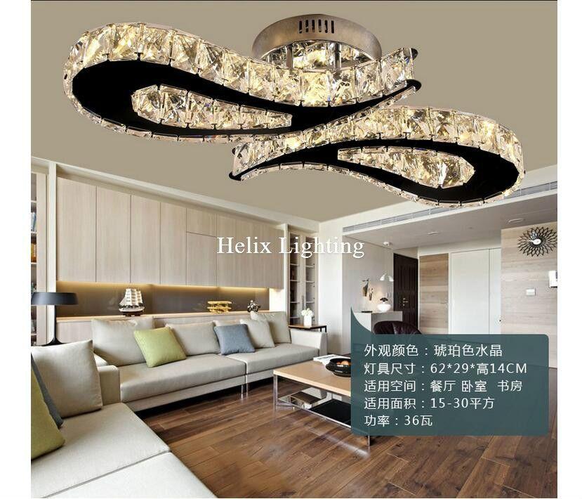 2017 Recém L620mm LEVOU Luz De Teto De Cristal Para Sala de estar luminaria LEVOU Luminária de Teto Para O Quarto AC 100% Garantido