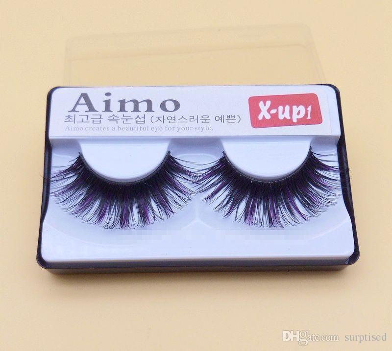 New False Eyelashes Black And Purple Exaggerated Thick False Eyelashes Lengthening Smoked Makeup Cross False Eyelashes