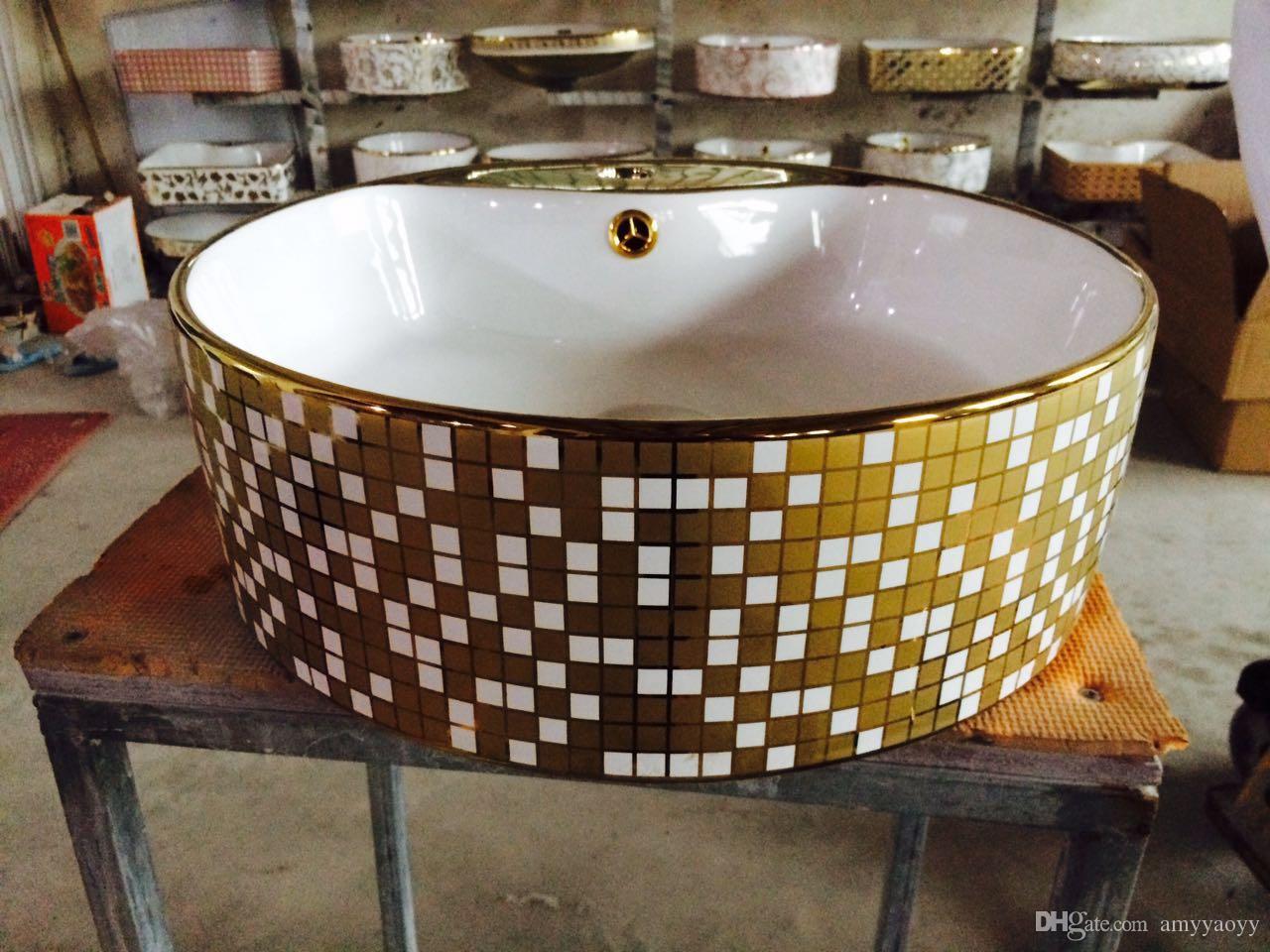Acquista Lavabo In Oro Ceramico Il Design D\'oro Del Bagno D\'arte ...