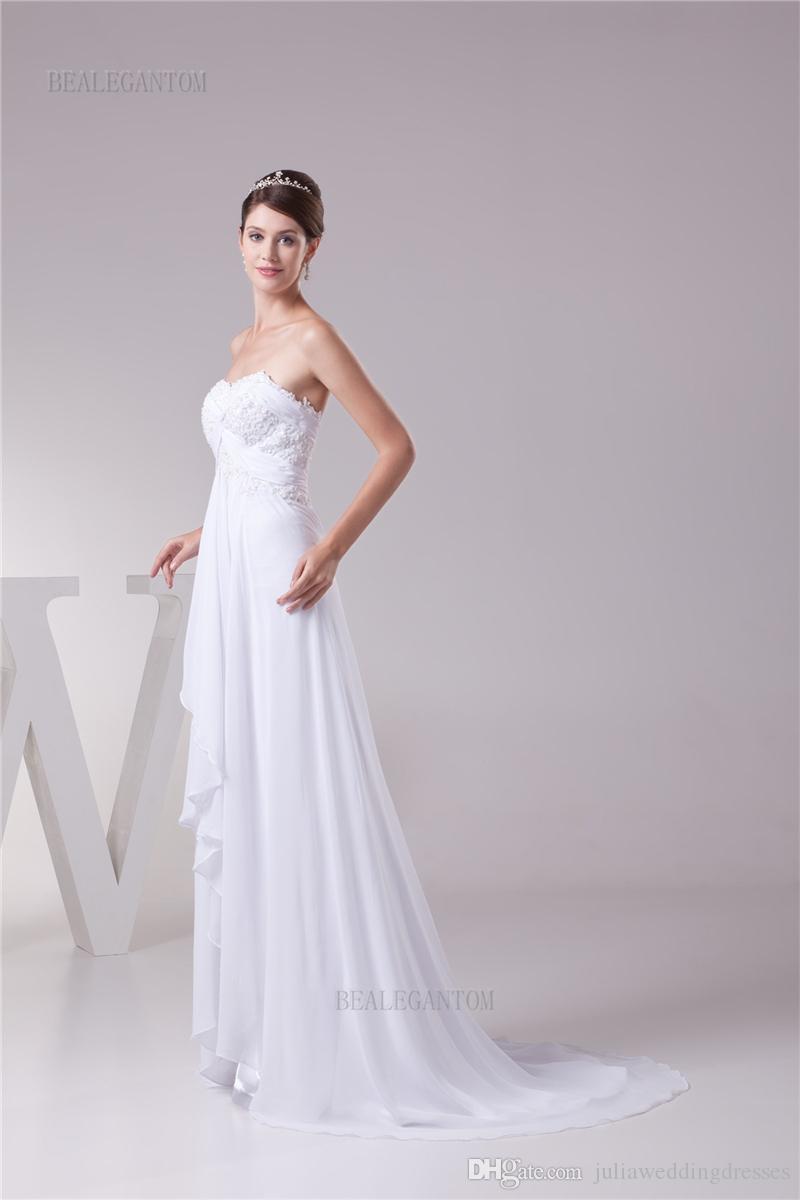 2017 più nuovo elegante foto reale sweetheart abiti da sposa in chiffon a-line in rilievo plus size wedding party abiti da sposa bm40