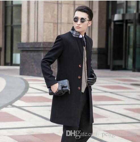 e13b3280d70 2019 Black Grey Khaki Blue Casual Single Breasted Wool Coat Men 2017 Trench  Jackets Coats Mens Wool Coat Overcoats Dress Winter S 9XL From Pengliuwang