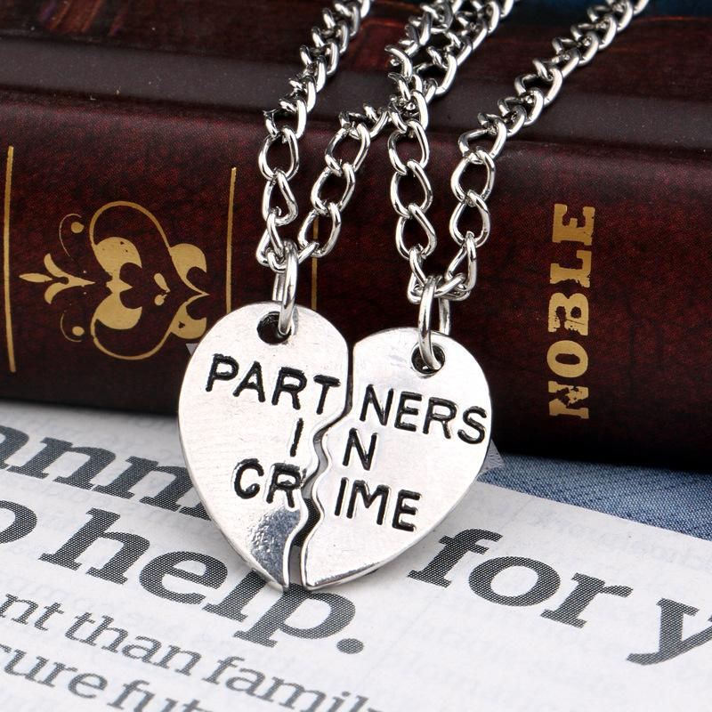 crime in necklace friendship broken parts necklaces clyde friends gun puzzle letter bonnie louise thelma pendant partner products heart stitching oriannas grande best