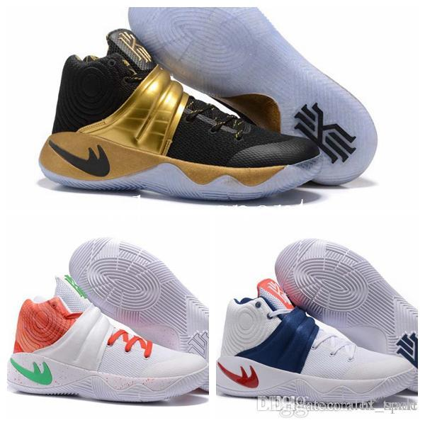 new concept 5cdf1 aa22f ... discount new kyrie 2 black gold usa triple black crossover huarache  cavs wolf grey kyrie irving ...