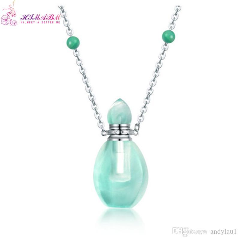 HIMABM Natural Green Fluorite Perfume Bottle Scent-bottle Essential Oil Bottle Can volumetric flask Birthday Gift Christmas Gift