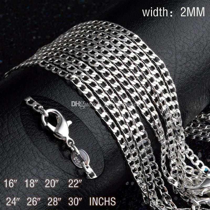 Homem mulher Colar 925 chapeamento de prata 2mm Sideways cadeia Colar 16 inch / 18 polegada / 20 polegada / 22 polegada / 24 polegada / 26 polegada / 28 polegada / 30 polegada