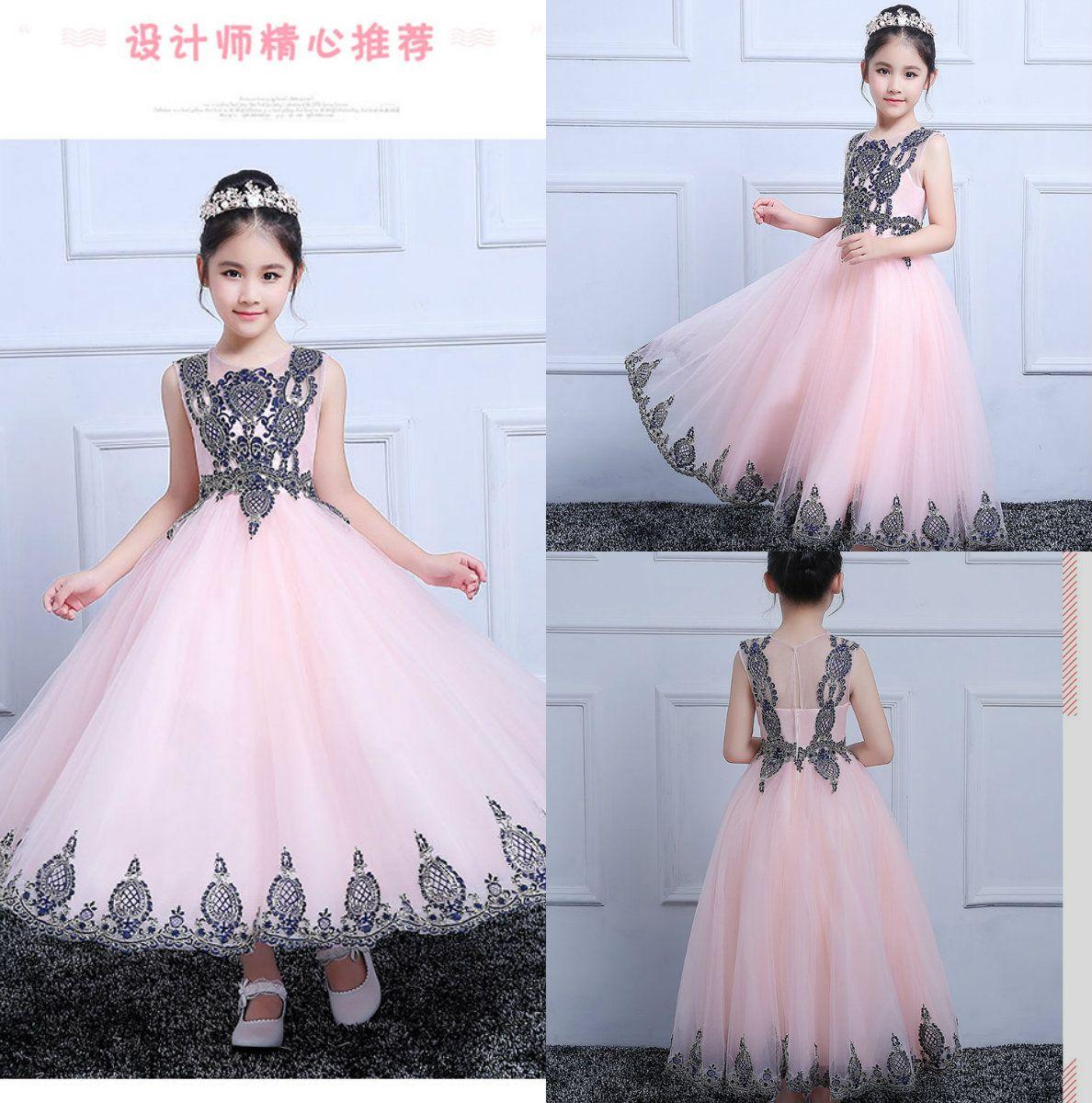 Real Image Flower Girls Dresses Light Pink For Wedding Appliques
