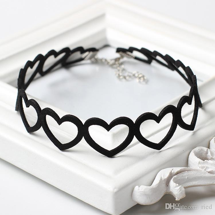 Niedliche Herz Design Schwarz Samt Chokerhalsketten Goth Kurze Tattoo Chocker Halskette Für Frauen Hals Schmuck Collares Femme