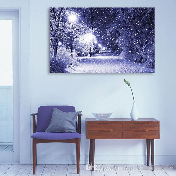 Lighted Pictures Wall Decor 2017 led canvas wall art snowy evening lighted lighted canvas art