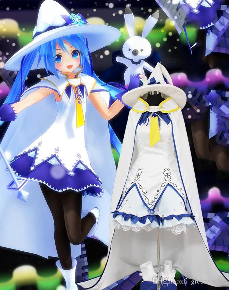 100%real white witch dress with cloak and hat cartoon cosplay costumes Hatsune Miku Magical