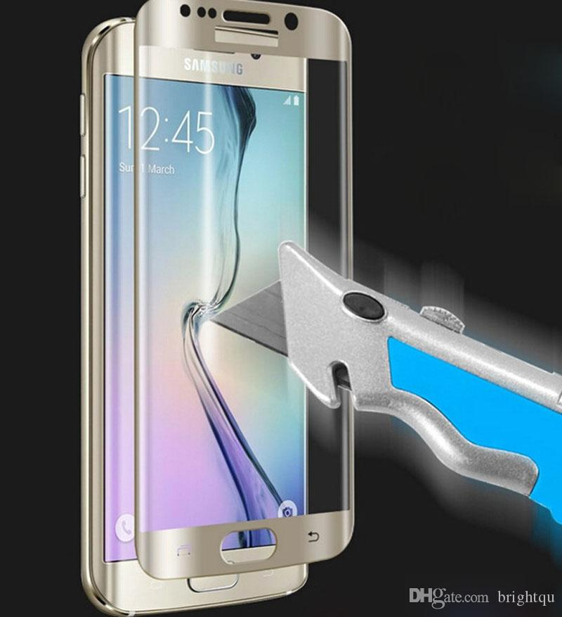 Full Cover 3D Curved screen 9H tempered glass LCD screen protector protective film for samsung galaxy s6 s7 edge edge+ plus G9250 no package