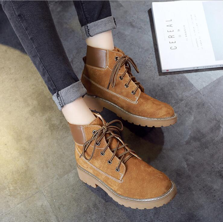 2017 Fashion casual warm women martin boot shoes ladies round toe lace- up winter snow boots free shipping