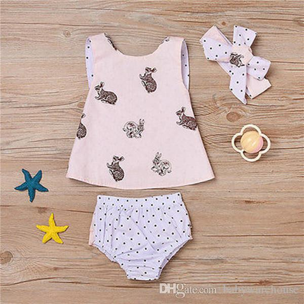 Newborn Baby Girls Clothes Summer Sleeveless Backless Cross Tops + Polka Dot Shorts + Headband Set Girls Outfits Kids Clothing Boutique