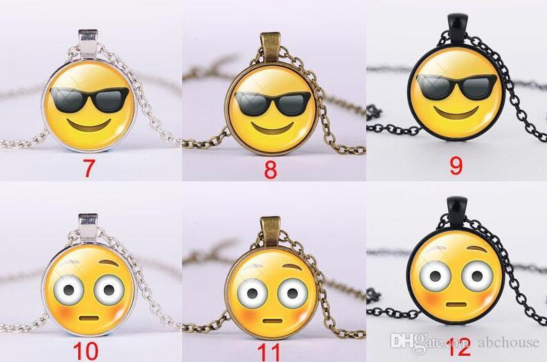 Winking Cool Laughing Smile Kiss Emoji Expression Glass Cabochon Necklace Time Gemstone Necklaces for women men kids Jewelry Gift Free Shipp