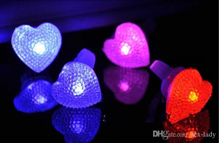 LED Elmas Yanıp Sönen Yüzükler Ayarlanabilir Led Kristal Yuvarlak Kalp Çiçekler Yıldız halka Light Up Yanıp Glow Flaş Yüzük Parti Disko Parmak Işık