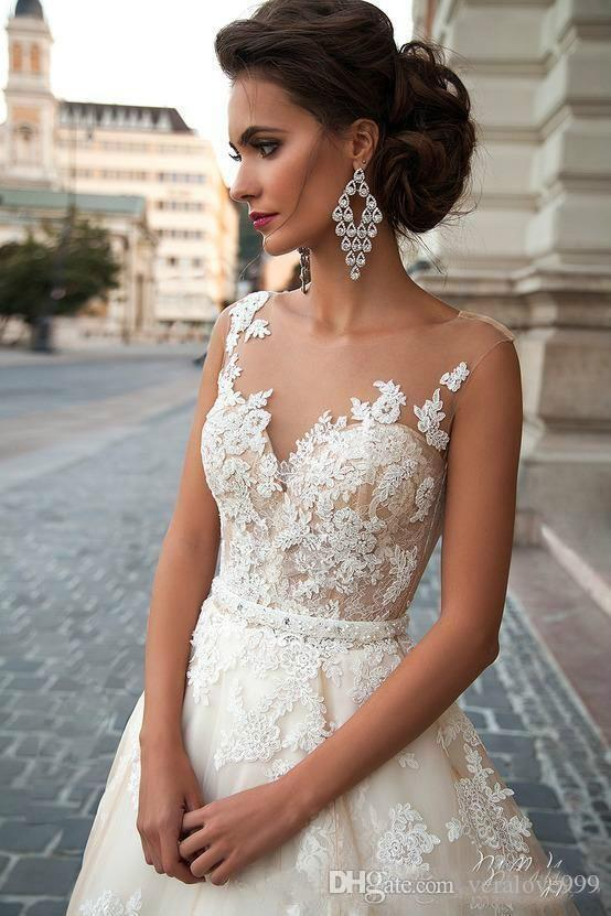 Stunning 2019 Milla Nova Sheer Castle Wedding Dresses Ball Illusion Back Appliques Lace Chapel Train Cheap Bridal Gown For Western Style