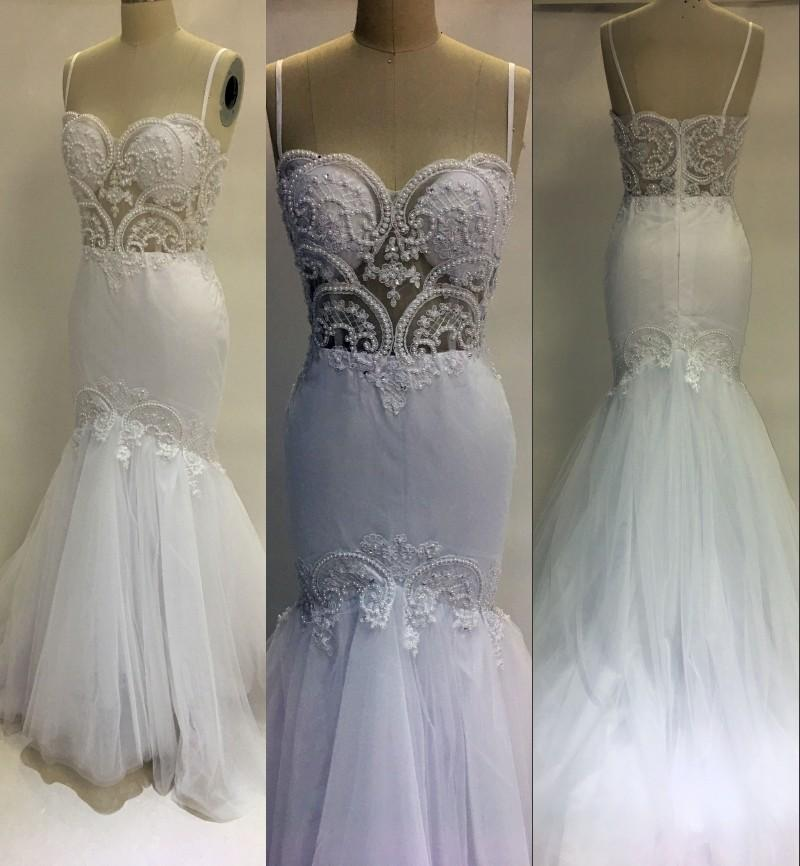 2017 New Sexy Plus Size Mermaid Wedding Dresses Spaghetti Straps Lace Appliques Pearls Tulle Backless Long Court Train Formal Bridal Gowns