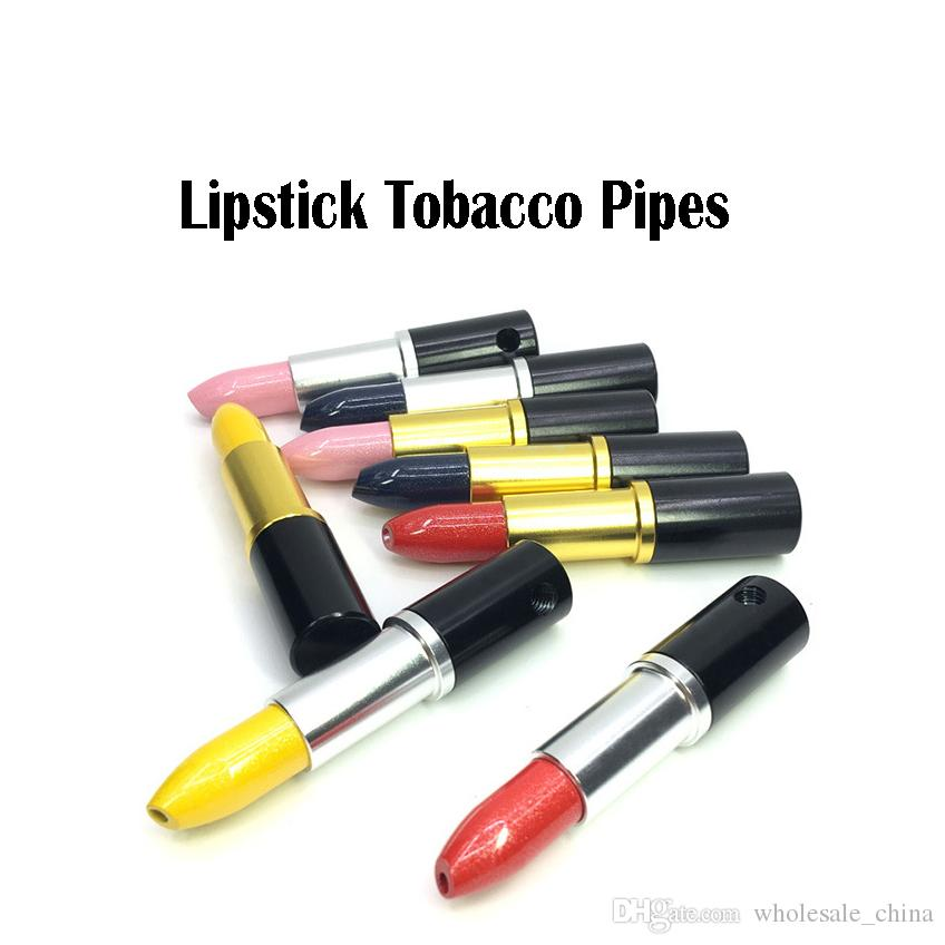 Lipsticks Metal Tobacco Pipes 74mm Mixed Color Hide Metal Fashion Magic  Lipstick Pipes Smoking Pipe Gift Multi-colors Free Shipping