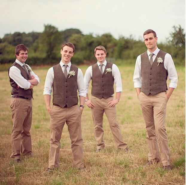 New fashion Brown tweed Gilet di lana a spina di pesce stile britannico su misura Mens suit su misura slim fit Blazer abiti da sposa uomo P: 2