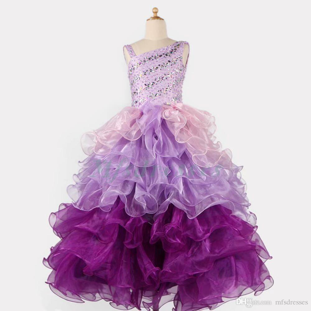 2017 bolas del vestido de bola gradiente azul púrpura vestidos de niña de las flores desfile de niñas vestidos largos layere para niñas vestidos de fiesta de cumpleaños de las muchachas