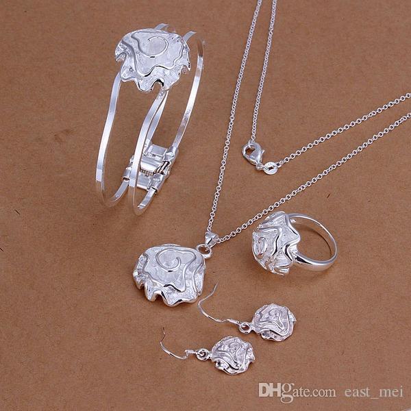 Hochzeitsrosen Sterling Silber Überzogene Schmuckset für Frauen ES243, Mode 925 Silber Halskette Armband Ohrring Ring Set