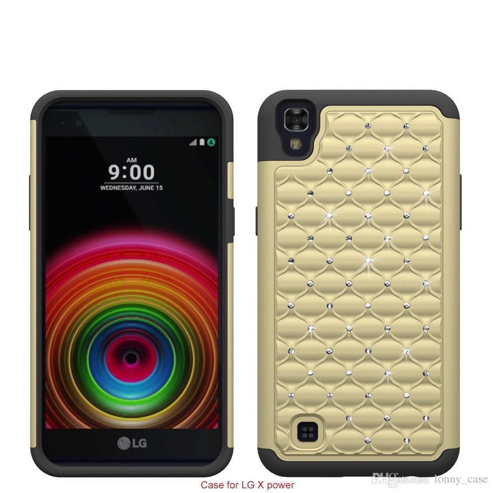 For LG X Power K20 K6P LG X Style Tributr HD LS676 bling diamond Starry Rubber PC + Silicone Hybrid armor rhinestone new cover
