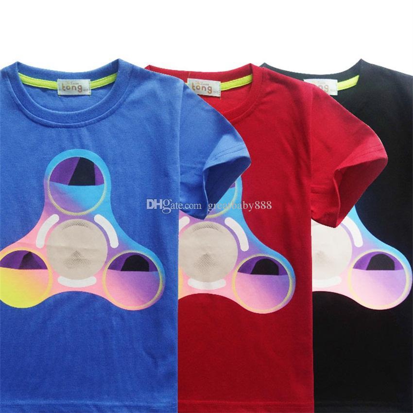 New Baby Handspinner Printing T-shirts Cotton Children Spiral Fingers  Printing Short Sleeves Tops Tees Kids Shirts C2164 Fidget Spinner Shirts  Children ... b072ea31129d