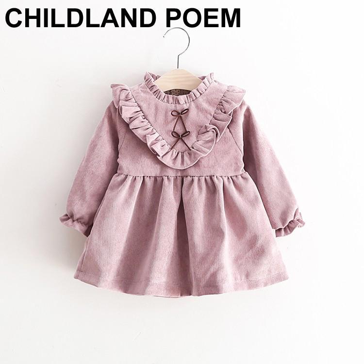 2018 Wholesale Autumn Winter Baby Dresses Girl 1 Year Birthday Dress