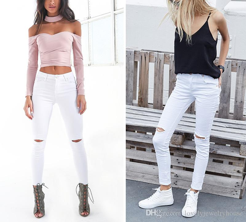 e5cf923213d7 2017022537 Summer Style White Hole Ripped Jeans Women Jeggings Cool Denim  High Waist Pants Capris Female Skinny Black Casual Jeans Pants Online with  ...