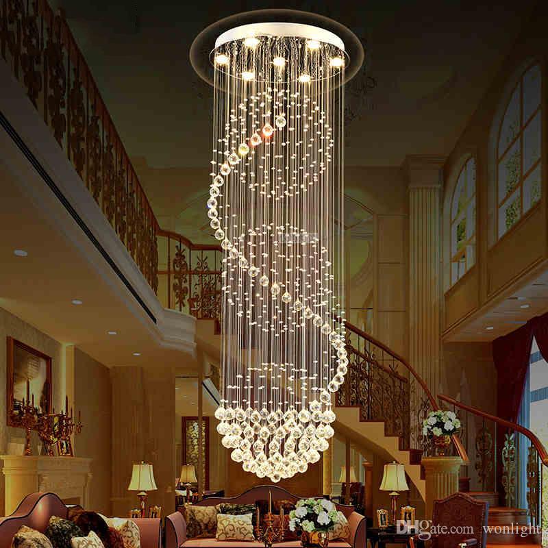Großhandel Led Kristall Kronleuchter Lichter Hängeleuchte Lampe Innen Deko  Beleuchtung Mit D70cm H250cm Für Esszimmer Hotel Treppen Von Wonlight, ...